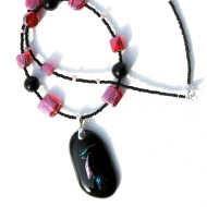 rose and black necklace