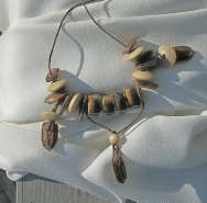 gourd seed and bead necklace